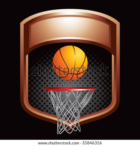 basketball hoop on bronze display - stock vector