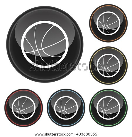 Basketball Icon Glossy Button Icon Set in With Various Color Highlights - stock vector