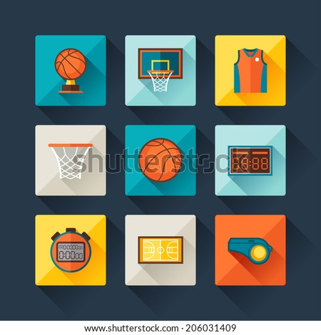 Basketball icon set in flat design style. - stock vector
