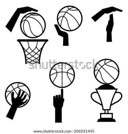 Basketball icon set of gestures and symbols in game. - stock vector
