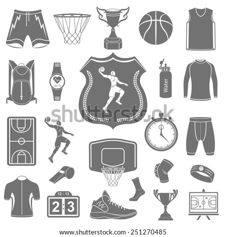 Basketball icon set - stock vector. Large set of symbols, logos and icons of basketball. Sports equipment, protection, trackers, silhouettes of players, uniforms, clothing and shoes. - stock vector