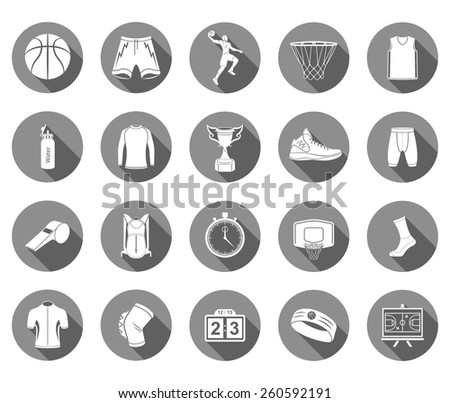 Basketball icon set - stock vector. Large set of symbols, logos and icons of basketball. Sports equipment, protection, trackers, silhouettes of players, uniforms, and clothing - stock vector