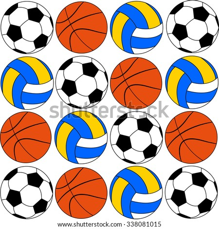 basketball icons footballs and volleyballs