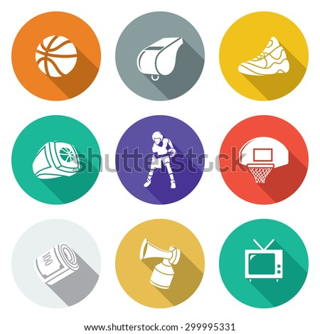 Basketball Icons Set. Vector Illustration. Isolated Flat Icons collection on a color background for design - stock vector