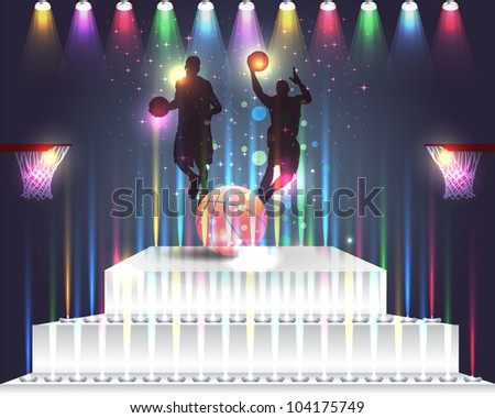 Basketball in Podium Vector Design Abstract Background - stock vector