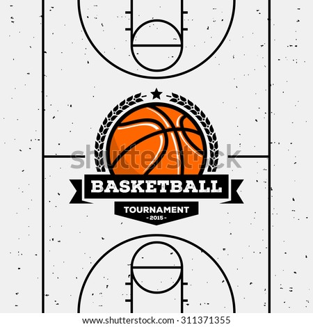Basketball logo with the ball. Suitable for tournaments, championships, leagues. Vector design template. - stock vector