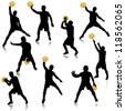 Basketball man in action silhouette set - stock vector