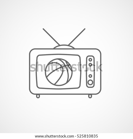 Basketball Match On Old TV Line Icon On White Background