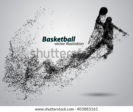 Basketball particles. Text and background on separate layers all can be easily edited - stock vector