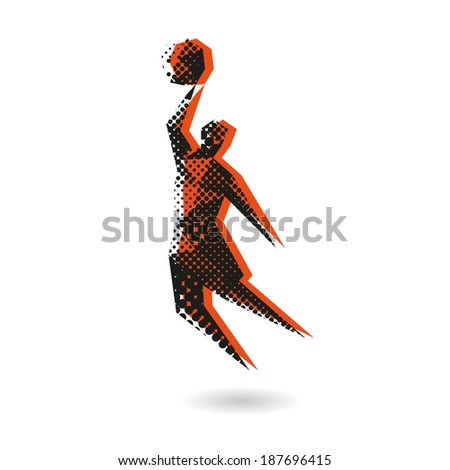 Basketball player abstract isolated on a white background, vector illustration - stock vector