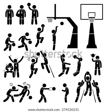 Basketball Player Action Poses Stick Figure Pictogram Icons - stock vector