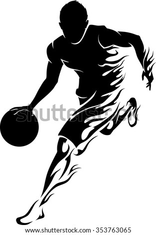 basketball player flame flaming trail of basketball athlete silhouette