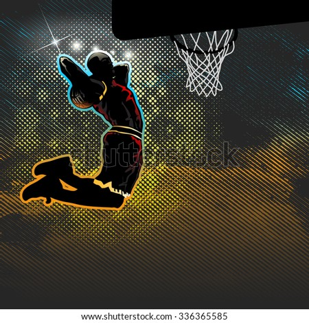 Basketball player goes for two handed dunk - stock vector