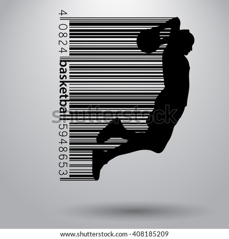 Basketball player in a barcode style. Background and text on a separate layer, color can be changed in one click - stock vector
