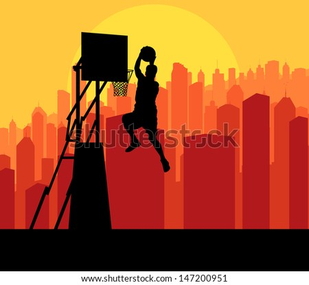 Basketball player in front of city sunset vector background concept - stock vector