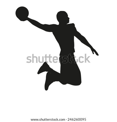 Basketball player isolated on white background, silhouette - stock vector