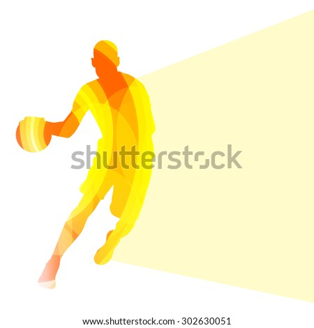 Basketball player man silhouette illustration vector background colorful concept made of transparent curved shapes - stock vector