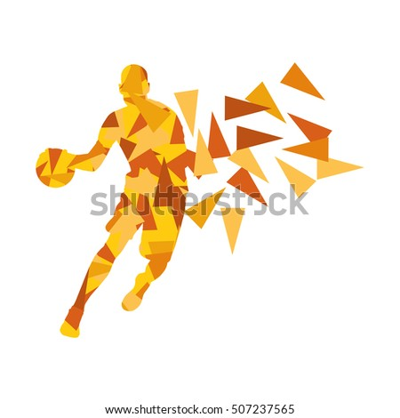 Basketball player man vector background abstract illustration concept made with polygon fragments isolated on white