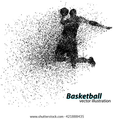 Basketball player of Particle. Text on a separate layer, color can be changed in one click - stock vector