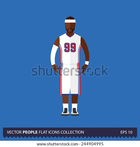 Basketball player on blue background vector illustration. People flat icon collection. - stock vector