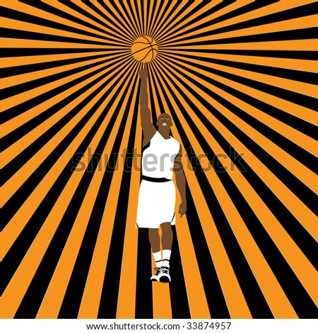 basketball player on striped background, vector illustration