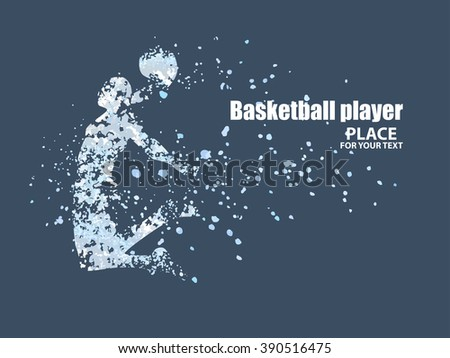Basketball player, particle divergent composition, vector illustration - stock vector
