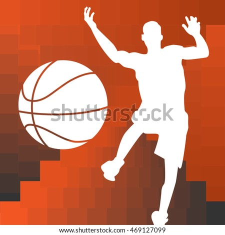 Basketball player silhouette background modern design