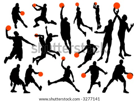 basketball player silhouettes vector - stock vector