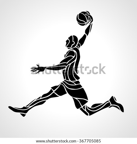 Basketball player. Slam Dunk Silhouette - stock vector