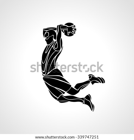 Basketball player. Slam Dunk Silhouette. Vector illustration - stock vector