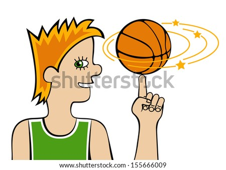 Basketball player / Smiling teenager spinning a basketball on his finger. Vector illustration isolated on a white background. The different graphics are all on separate layers.  - stock vector