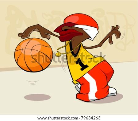 Basketball player star - stock vector