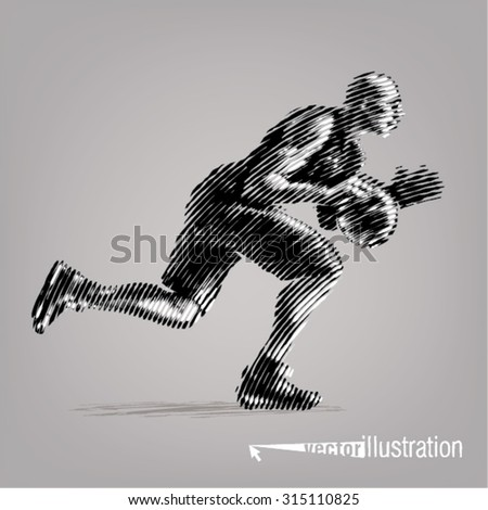 Basketball player.Vector artwork in the style of ink drawing - stock vector