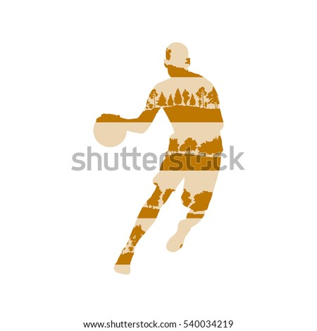 Basketball player vector background concept made of forest trees fragments isolated on white