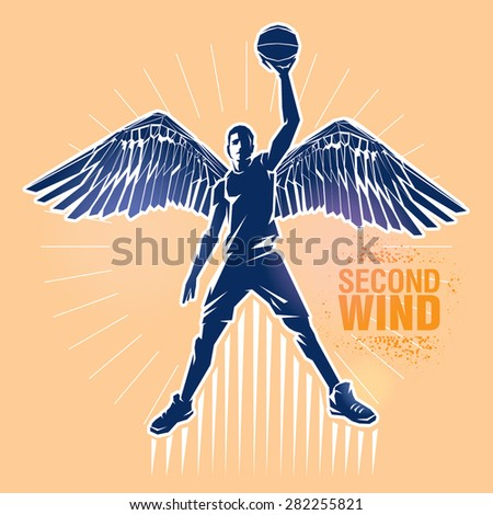 "Basketball player. Vector illustration created in topic ""Second wind "" - stock vector"