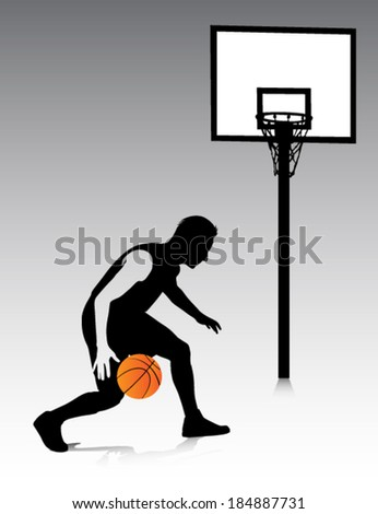 basketball player vector silhouette - stock vector