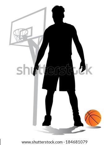 basketball player vector silhouettes - stock vector