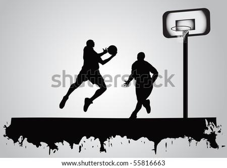 basketball players - stock vector