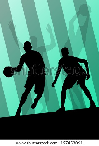 Basketball players active sport silhouettes vector background illustration - stock vector