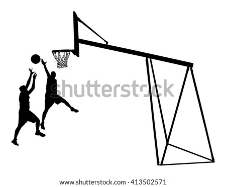Basketball players black silhouette vector illustration isolated on white background. Basketball hoop vector silhouette illustration. - stock vector