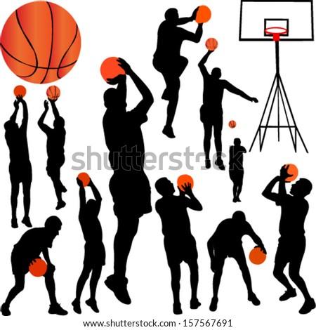 basketball players collection vector - stock vector