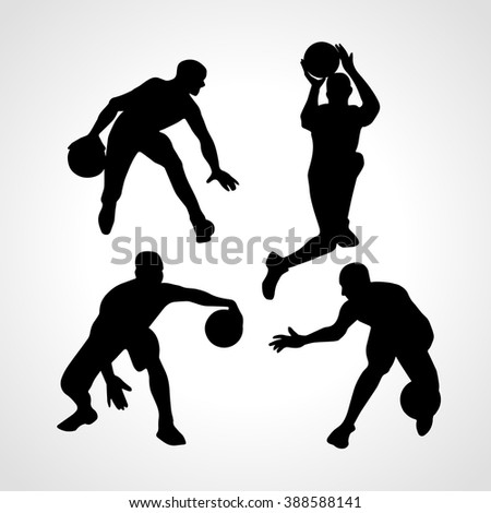 Basketball players collection vector. 4 silhouettes of basketball players set - stock vector