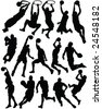 basketball players silhouettes - vector - stock photo
