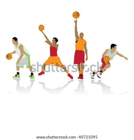 basketball players silhouettes, vector illustration - stock vector