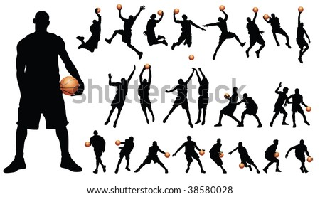 Basketball players vector - stock vector