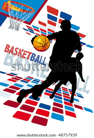 Basketball Players. Vector illustration sports series. - stock vector