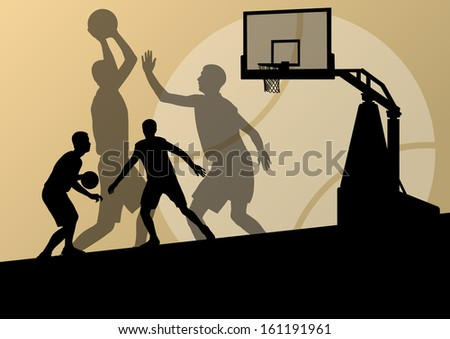 Basketball players young active sport silhouettes vector background illustration - stock vector