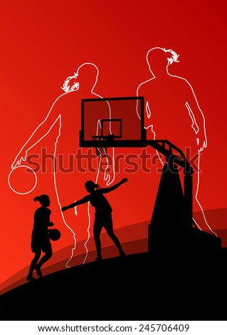 Basketball players young active women sport silhouettes vector background illustration - stock vector