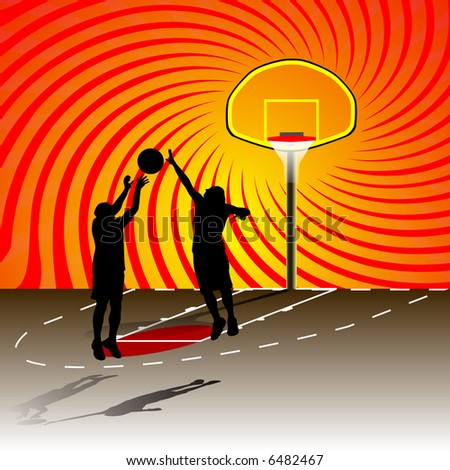 basketball playrs on the court - stock vector