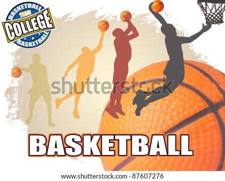 Basketball poster background, vector illustration - stock vector